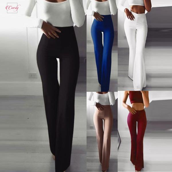 Women Trousers Fashion Solid Elasticity Leggings Bell Bottoms Pants High Waisted Cargo Pants Women Pantalon Femme 220