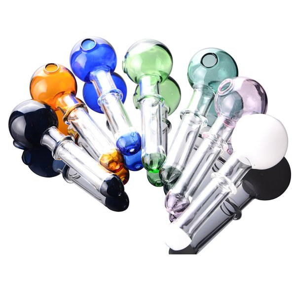 Glass oil burner pipe Short Colored Mini Smoking Handle Pipes smoking pipes High quality IN STOCK free shipping