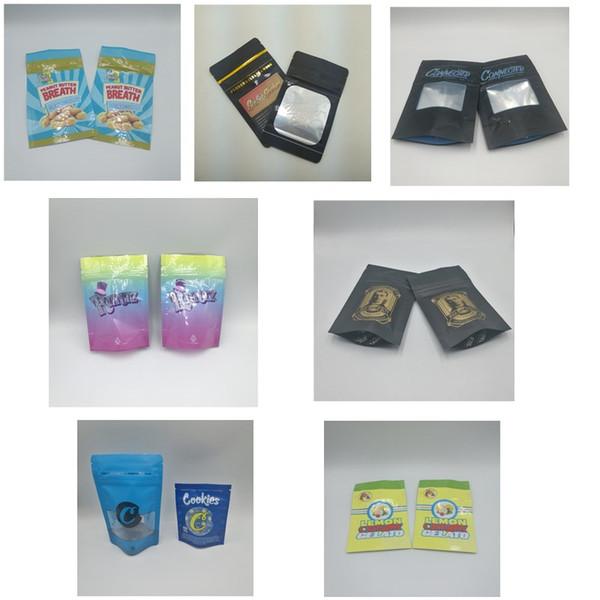 top popular 2019 New Arrival Smell Proof Mylar Bags Runtz Jungle Boys Cookies Connected Billy Kimber OG Lemon Cherry Gelato Packaging Bags 2020