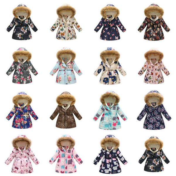 Retail 37 styles kids coats Winter boys girls warm thicken floral printed long fur collar hooded down jacket fur coat kids designer clothing