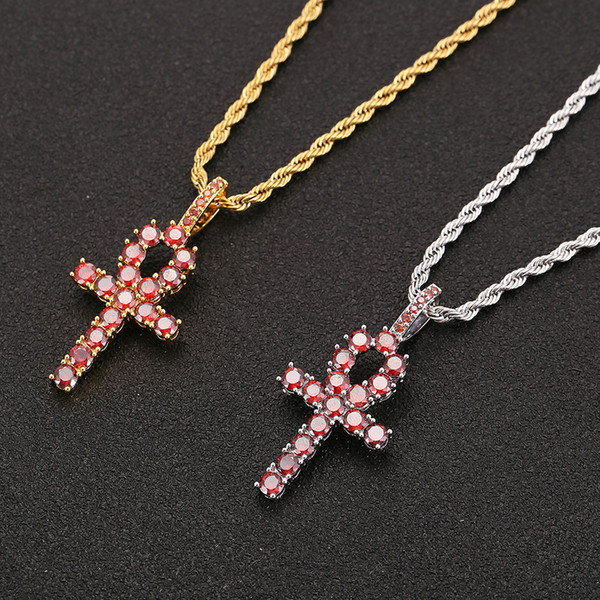 Iced Zircon Red Ankh Cross Pendant Gold Silver Copper CZ Egyptian Key of Life Pendant Necklace Men Women HipHop Jewelry