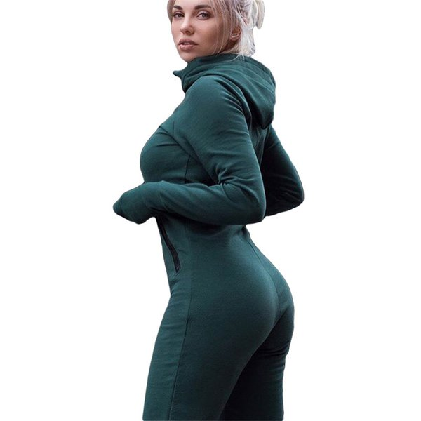 Women's 2018 Autumn Long Sleeve Hooded Jumpsuit Ladies Yoga Sportswear Jumpsuit Fitness Training Suit Bodysuit Sport Clothing Y190508