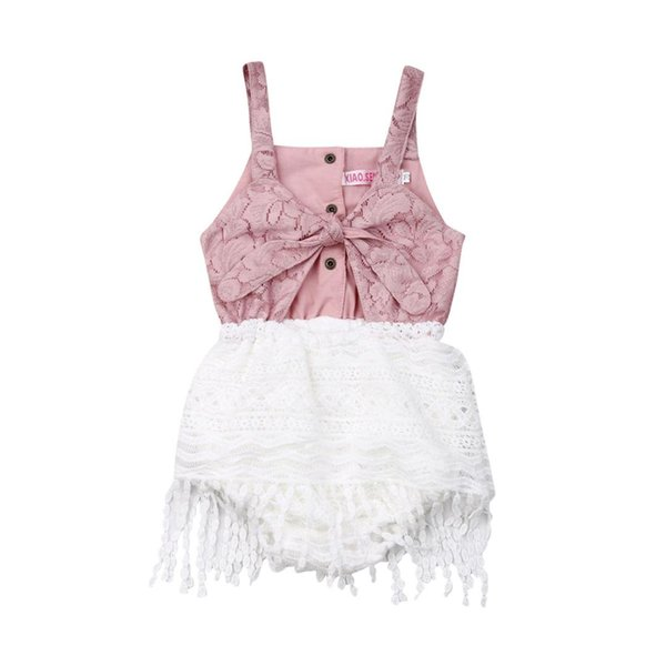 Sweet Newborn Baby Girls Lace Tassel Bodysuit Sleeveless Pink Patchwork Overall Outfits Clothes