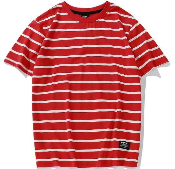 Fashion Striped T Shirts 2018 Men Women Skateborad Red White Striped T Shirt Top Tees Hip Hop Black White Striped T-Shirts