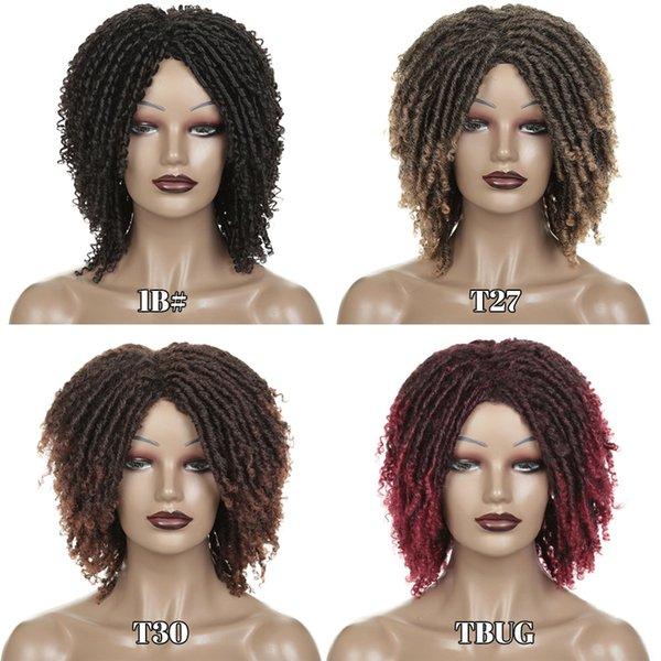 14 дюймов короткие синтетические парики для женщин дреды парик волос мягкие вьющиеся концы искусственные Локс ломбер черный ошибка блондинка 30 цвет крючком косы парики