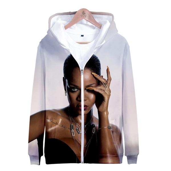 Rihanna Print Zipper Hoodie Men/Women Winter Fashion Casual Harajuku Soft Hooded Sweatshirt Hot Sale