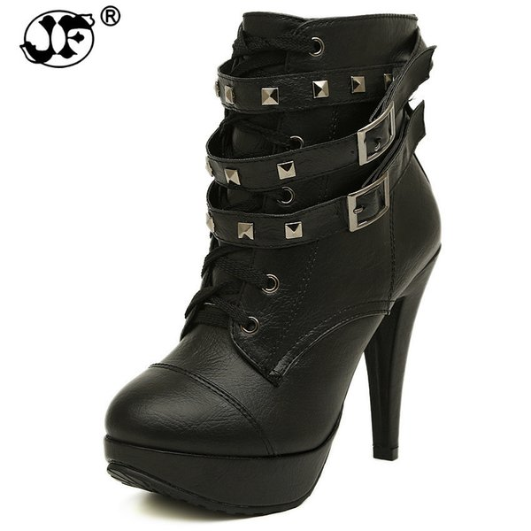 Plus Size 35-42 Rome Rivets Party Fashion Working Women Boots PU Black Platform Sexy Wedding Shoes High Heel Ladies Ankle Boots9