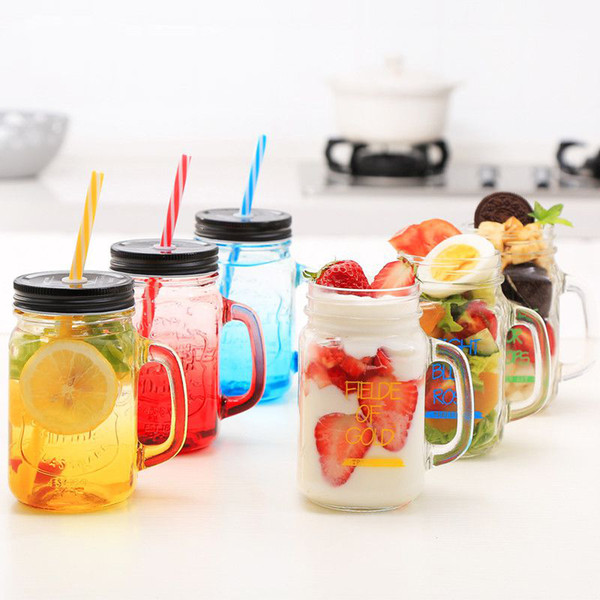 450ml Glass Mason Jar Mug with Lid and Straw Summer Ice Cream Fruit Cold Drinking Water Jars Juice Cup SH190925