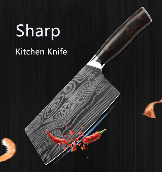Kitchen Sharp Knife Laser Chef Knife Stainless Steel Damascus Knife Wooden Handle Fruit Vegetable Meat Slicing Knives Kitchen Tool DBC H1476