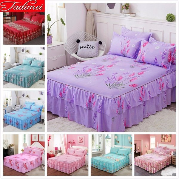 Girl Purple Bed Skirts Adult Kids Bed Linen Cover Single Twin Full Queen King Big Size Bedspread 150x200 180x200 200x230 120x200