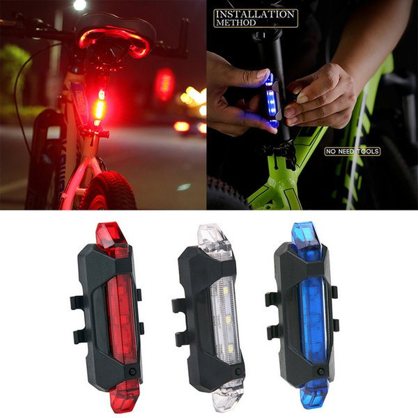 5 LED 3 Mode Cycling Bicycle Tail Light Bike Caution Safety Rear Lamp Red Hot