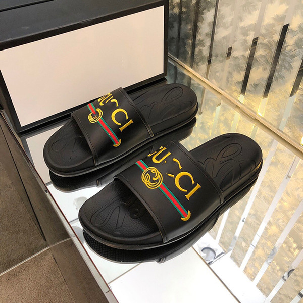 best selling High Quality Luxury Designer Mens Summer Genuine leather Rubber Sandals Beach Slide Fashion Scuffs Slippers Indoor Shoes Size 38-45 With Box