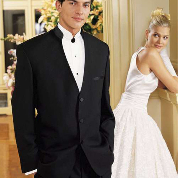 Two Piece Black Wedding Groom Tuxedos for Mens Chinese Style Two Piece Men Suits Blazer (Jacket + Pants )