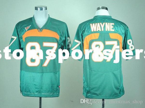custom Miami Hurricanes Reggie Wayne # 87 Green College Football Jersey cucita Personalizza qualsiasi nome numero UOMO DONNA GIOVANI XS-5XL