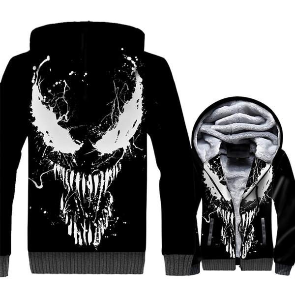 2019 Fashion Streetwear Hoodies 3D Print Sweatshirts For Men Movie VENOM Harajuku Men's Sweatshirt Thick Hoodie Hip Hop Jackets
