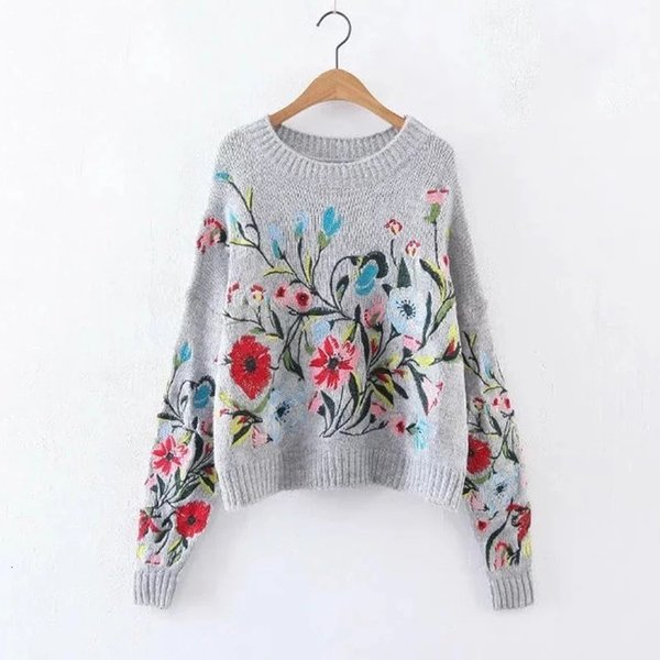 woman designer sweaters women sweater 2019 spring round neck long sleeve flower embroidered gray knitting warm loose women fashion tide