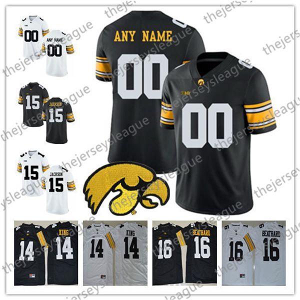 Iowa Hawkeyes Özel Herhangi Adı Herhangi Bir Numara Beyaz Siyah Kişiselleştirilmiş Dikişli # 4 Nate Stanley 14 Desmond King NCAA Kolej Futbol Formaları