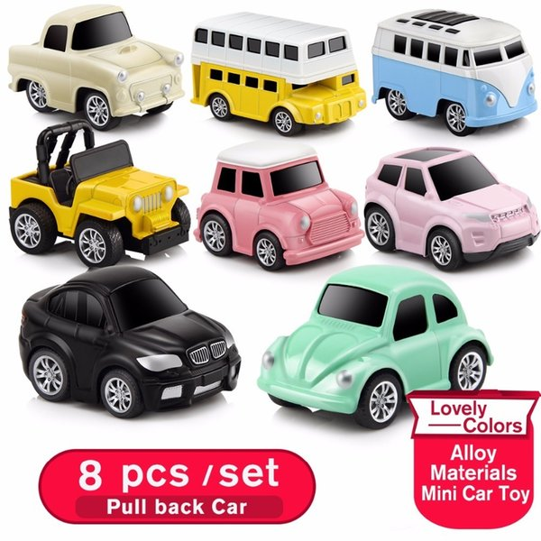 8pcs/set Small Car Toy Model Diecast Pull back Vehicles Mini alloy car set of machines kit for boys baby little oyuncak araba