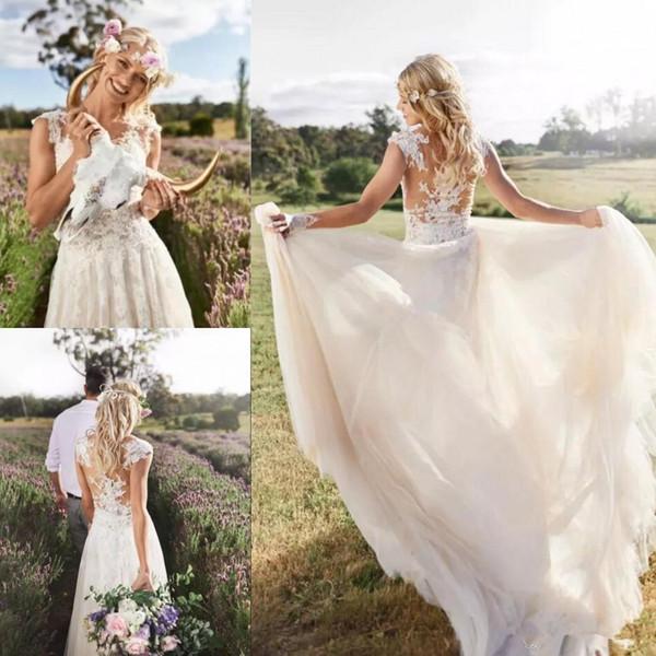 Vintage 2019 Julie Vino Summer Beach A-line Lace Wedding Dresses New Halter Backless Lace High Split Chiffon Bridal Gowns