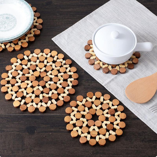 Desk Table Mats Round Bamboo Placemat Insulation Pads Against Hot Coasters Hollow Wooden Pot Cup Mat Kitchen Accessories 16/21cm