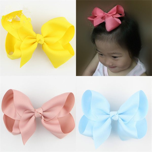 20 pçs / lote Boutique HairBow Estilo Verão Para Kid Handmade Barrette Hair Bows Para Crianças Sólidos Hairclip Menina Headwear