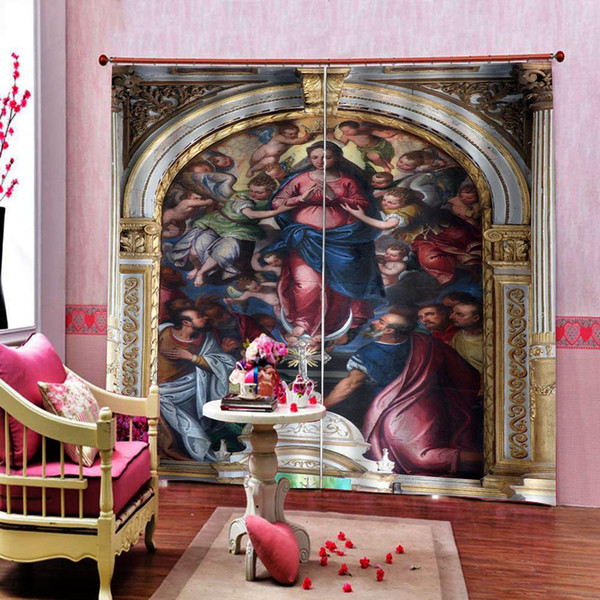 Cortinas opacas personalizadas de alta calidad Virgen María y cortinas de ángeles europeos para cortinas de ventana de dormitorio de sala de estar