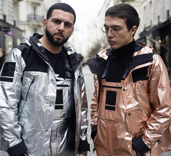 Para hombre marca de diseño de invierno chaquetas rompevientos para hombre reflector del Norte Plata Oro Homme chaquetas Calle MensXXLkenzoo