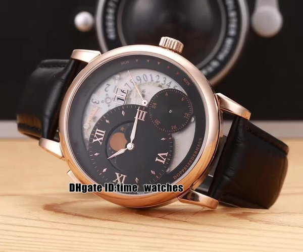 """NEW 139.035F Automatic Mens Watch Grand Lange1 Moon Phase """"Lumen"""" big date leather strap Rose gold case high quality watch Gents watches"""