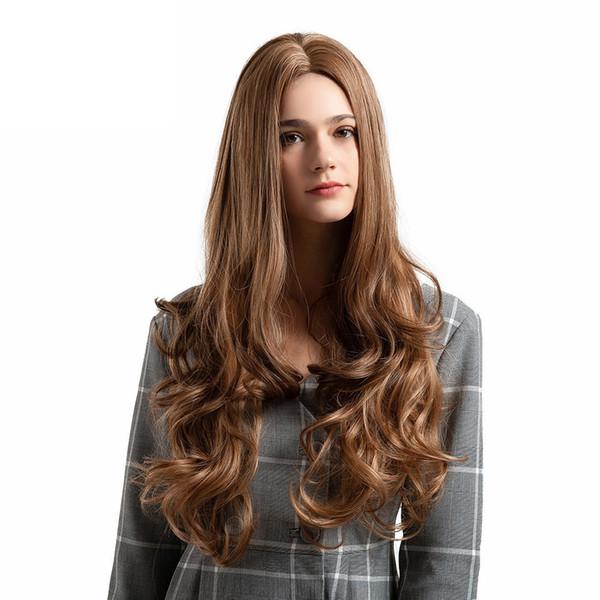 26 Pouces Longs Bouclés Mix Violet Femmes Perruque Synthétique Mi Partition Ondulés Cheveux Costume Résistant À La Chaleur Synthétique Crépus Perruque Frisée Nouveau