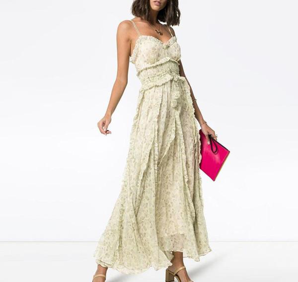 Принт без рукавов платья женщин ремень высокой талией оборками бинты до щиколотки платья женская мода 2019 весна