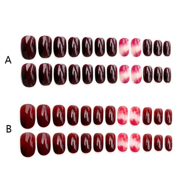 24Pcs Rendering Round False Nails Acrylic UV Gel Wedding Full Fake Nails Art Tip