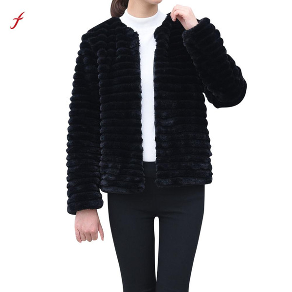 Feitong nueva moda para mujer damas abrigo de piel de imitación caliente chaqueta 2018 gradiente de invierno Parka abrigo prendas de abrigo / PT