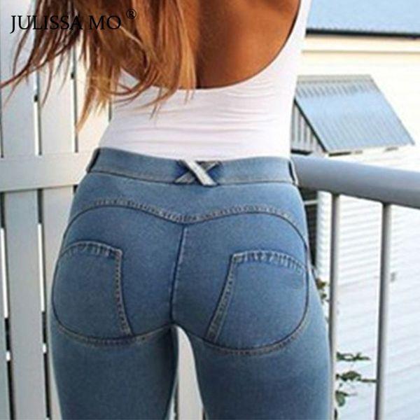 7578e781d Compre Venta Al Por Mayor De Las Mujeres De La Cadera Llena Flaco Elástico  Cintura Estiramiento Jeans Nueva Moda 2018 Otoño Invierno Sexy Jeans ...