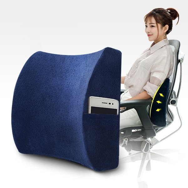 Soft Memory Foam Lumbar Support Back Massager Waist Cushion Pillow For Chairs In The Car Seat Pillows Home Office Relieve Pain SH190713