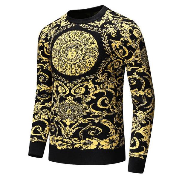 Nuevo suéter de vestir BUR para hombre, camisa casual Harajuku de moda para hombre, Medusa de lujo, oro negro, suéter 3D de lujo con estampado Slim Fit T667