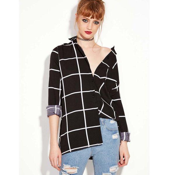 cde3dd4d31c Женщины плед с длинным рукавом двухслойная кнопка дизайн Сексуальная рубашка  camisa xadrez feminina плюс размер blusas