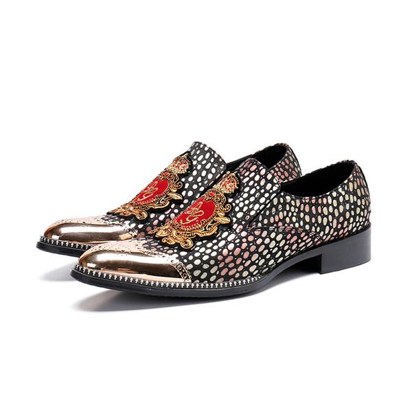 Zapatos de cuero ocasionales de los hombres 2018 Moda Hombres Pisos Punta redonda Zapatos de vestir de oficina cómodos
