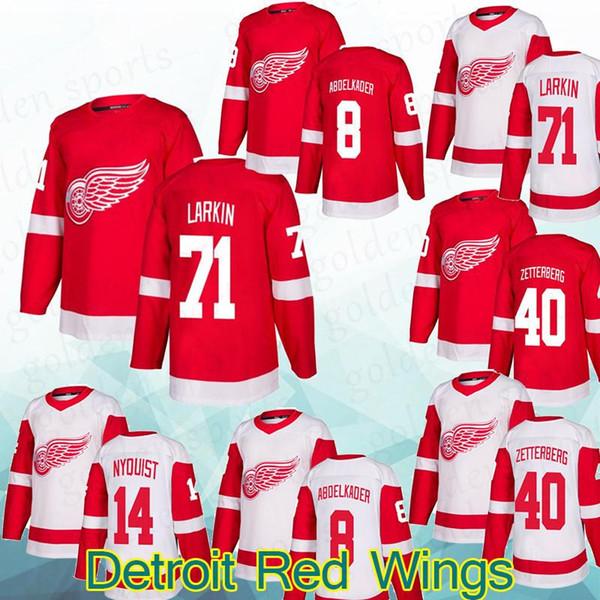 Detroit Red Wings Jersey 71 Dylan Larkin14 Gustav Nyquist 8Justin Abdelkader 40Henrik Zetterberg chemise manches longues de qualité supérieure