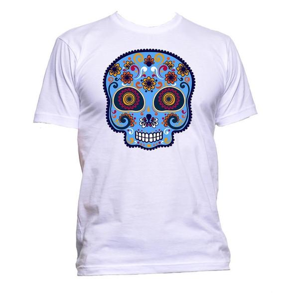 Sugar Skull Light Blue Painted T-Shirt para mujer Unisex Moda Slogan Comedy sudadera con capucha camiseta hip hop chaqueta de cuero de Croacia