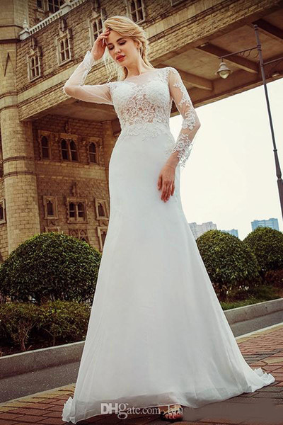 Luxury Long Sleeve Wedding Dresses White Fish Tail Lace Long Sleeved High Quality Freight Spring Sticker Beaches Wedding Dress