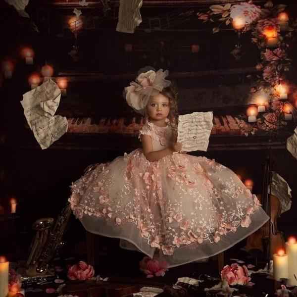 Blush rosa princesa vestidos de meninas de flor para o casamento jóia pescoço 3d floral talão crianças pageant dress vestido de baile da criança vestidos de comunhão