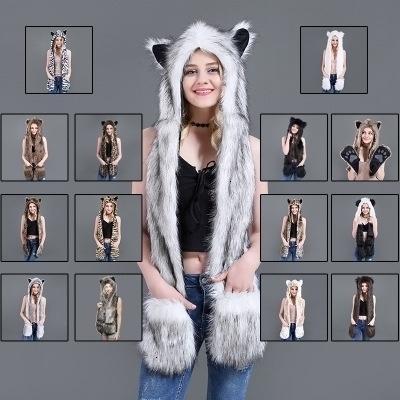 Ragazze delle signore animali Lupo Tiger Hood Faux Fur inverno caldo sveglio delle sciarpe delle donne 3 in 1 sciarpa cappello guanti Suit