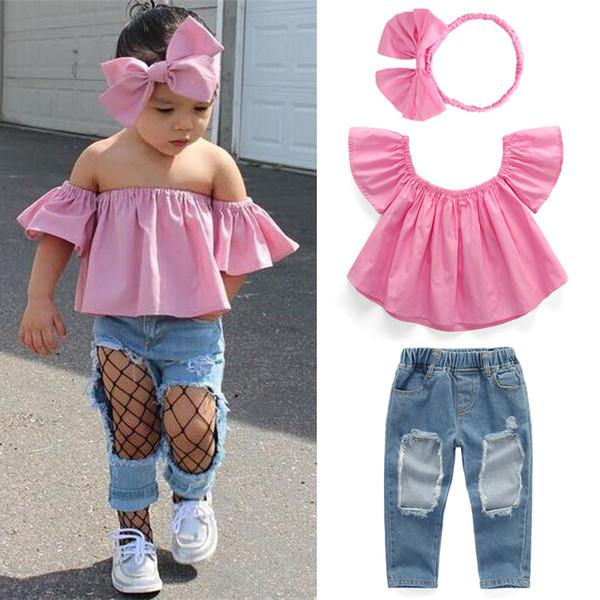 Sommerbaby-Kinderkleidung stellte rosafarbene Oberseite + zerrissene Jeans-Denimhosen + Bogen-Stirnband 3 PC-Sätze Kinderdesigner-Kleidung-Mädchen JY345 ein