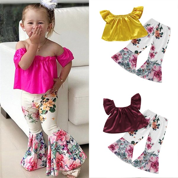 kids clothes 3 colors princess children clothing set Off Shoulder Tops+Floral Pants Leggings 2Pcs kids designer clothes girls JY310-U