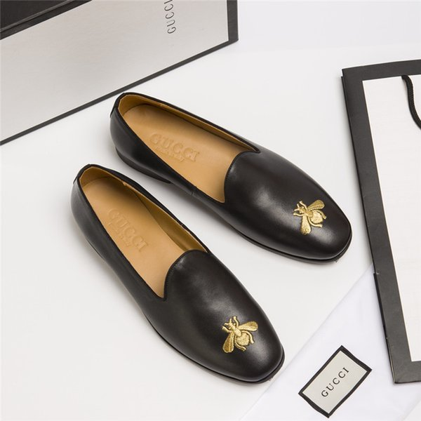 Nouvelle saison de luxe de Chaussures Mode Luxe Chaussures Hommes cuir à lacets Chaussures de sport Plate-forme Bee Black Pattern Chaussures Casual