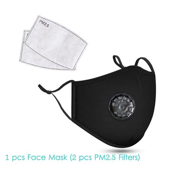 1pcsblack Gesichtsmaske + 2pcs Filter