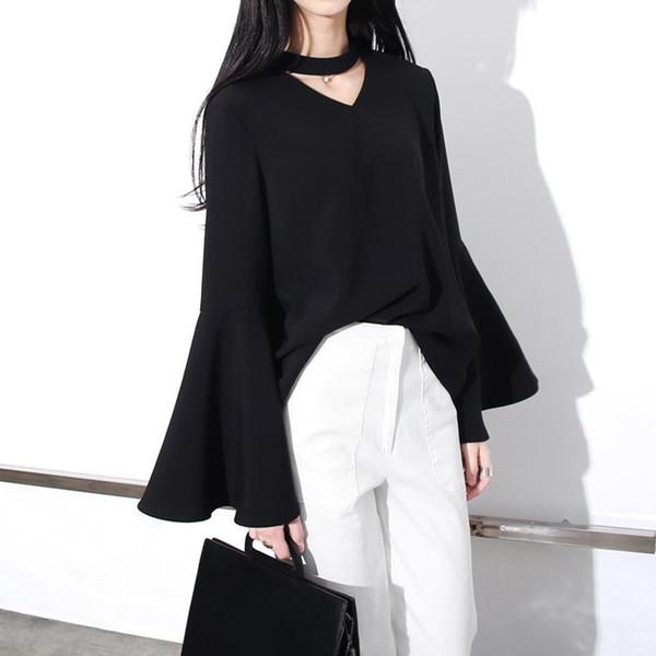 2016 European Moda coreana Asymmetric V-neck de Nova Mulheres Frente Slit oco Big Horn alargamento camisa de manga Femme Blusa