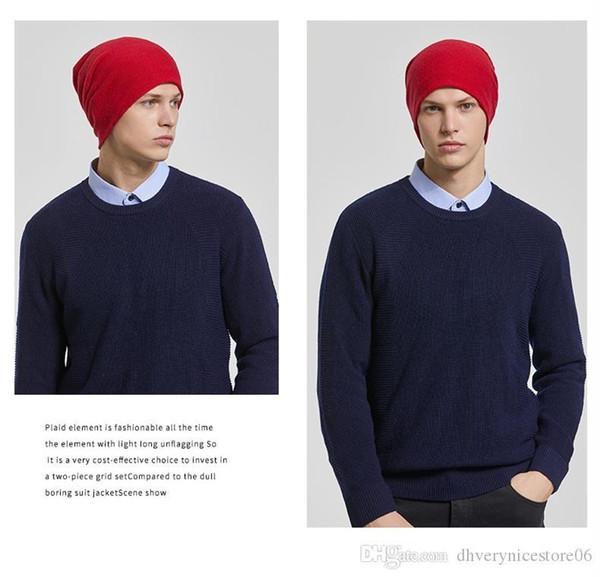 Chapeaux pour hommes 100% Pure Laine laine tricotée Warmth extérieur épaissie Baotou Cover Head Ear Protection Chapeau d'hiver
