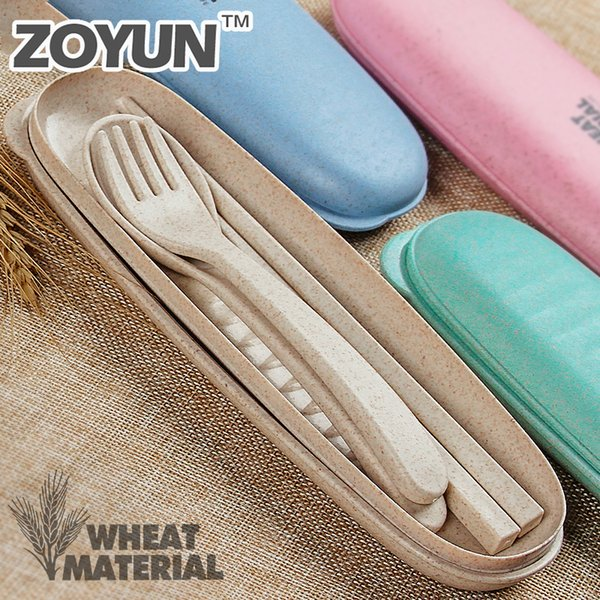 Wheat Straw Plastic Camping Portable Reusable Cutlery Travel Kids Adult Fork Spoon Chopsticks Child Dinnerware Utensil Box Set C19041901