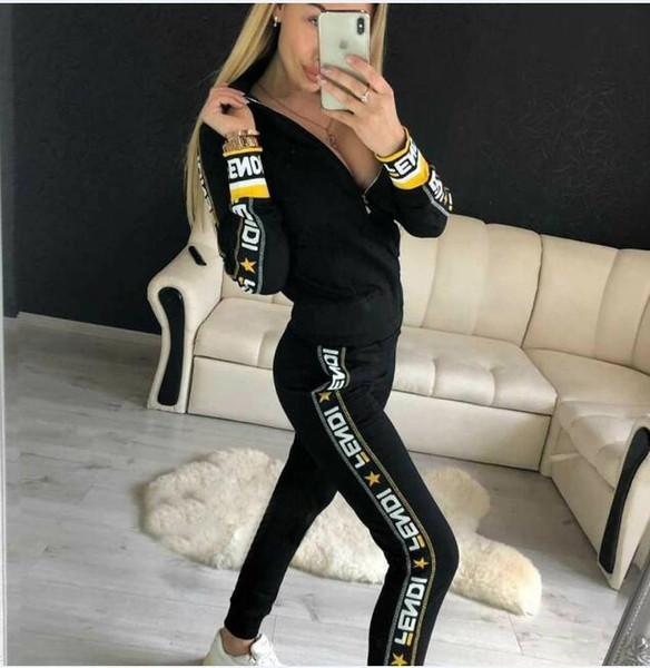Seksi Kadınlar İki Adet Set Spor takım elbise Kadın Yüksek Bel Uzun Pantolon Tops 2 ADET mektup Baskılı Eşofman Moda bahar Sonbahar Kadın Giyim